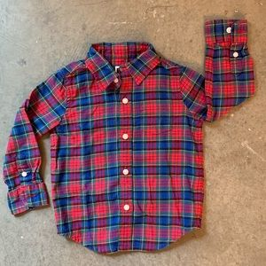 Janie and Jack Red Plaid button down shirt